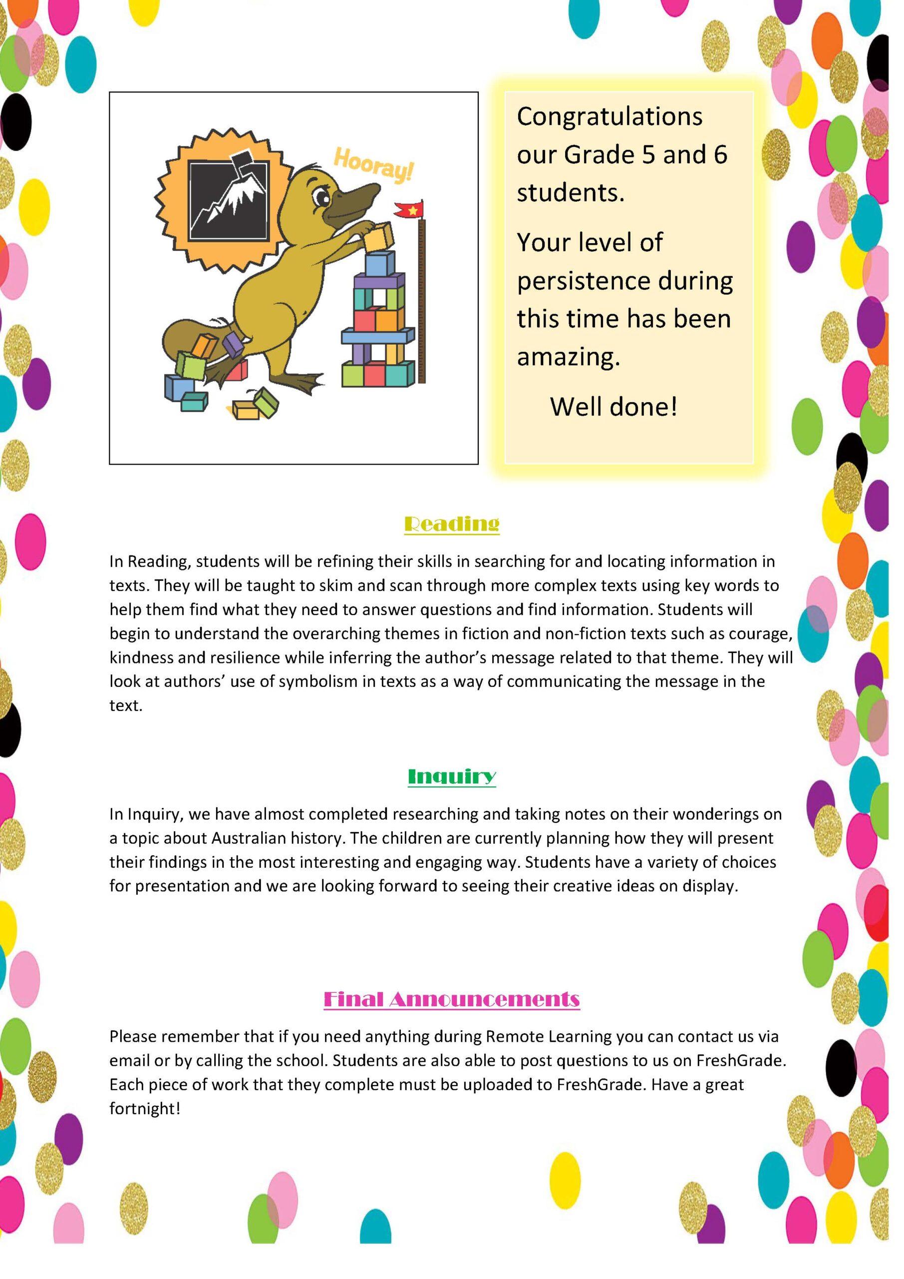Grade 5/6 Term 2, 2020 Newsletter #3