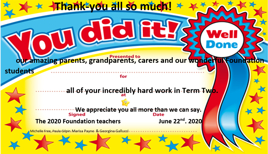 Foundation Thank – you end of remote learning