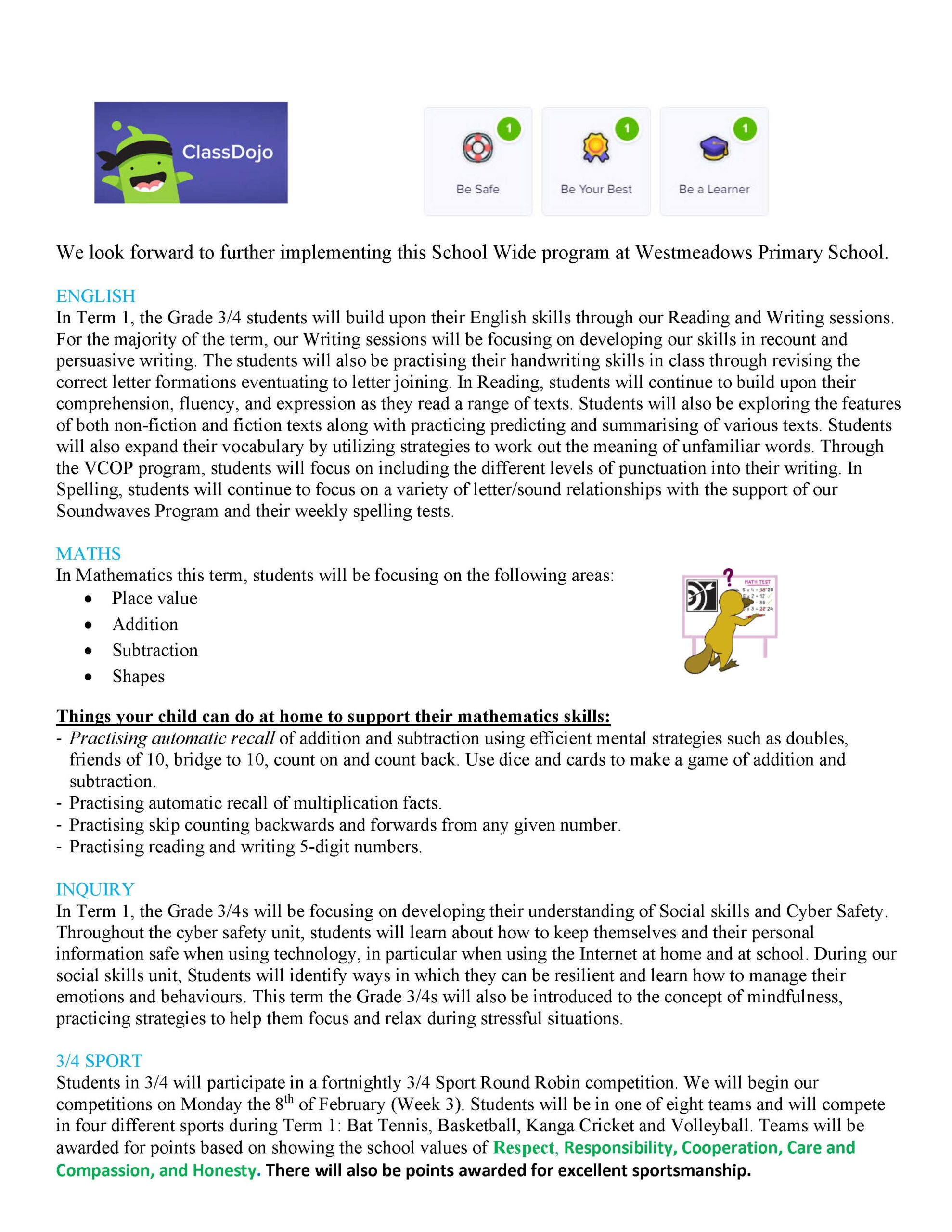 Grade 3/4 Term 1, 2021 Newsletter