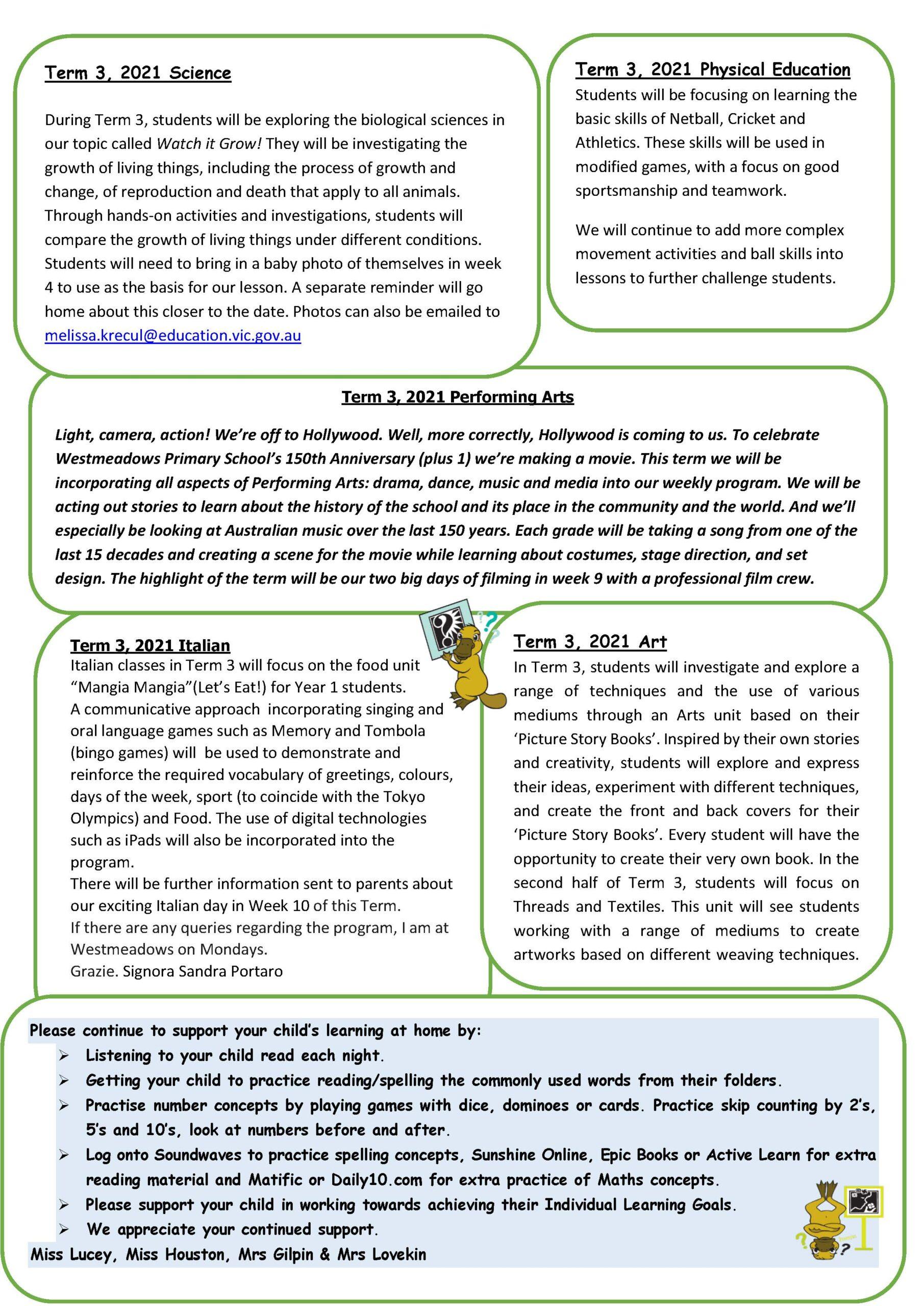 Grade 1 Term 3, 2021 Newsletter