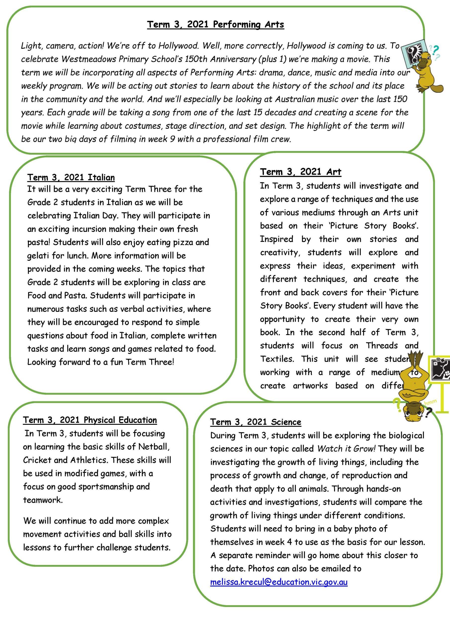 Grade 2 Term 3, 2021 Newsletter